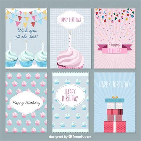 card set flat birthday cards set vector free