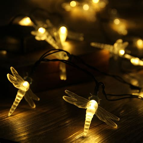 dragonfly outdoor lights 30 led white solar power dragonfly string lights