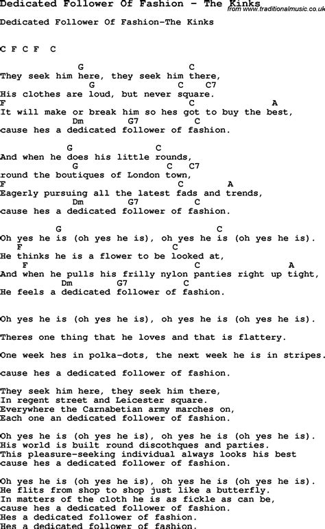 picture book the kinks lyrics song dedicated follower of fashion by the kinks song