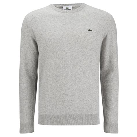 lacoste knitted jumper lacoste s basic crew knitted jumper grey free uk