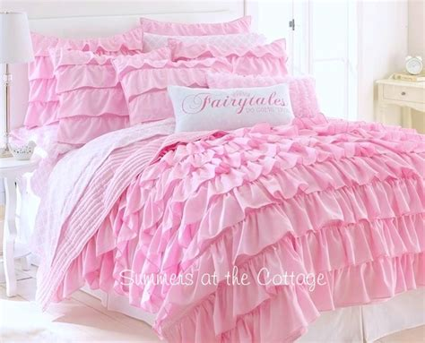 pink ruffle bedding dreamy pink tales ruffled quilt