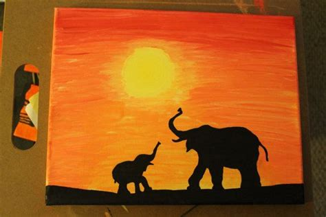 acrylic painting on canvas cranes sunset elephant family at sunset safari series