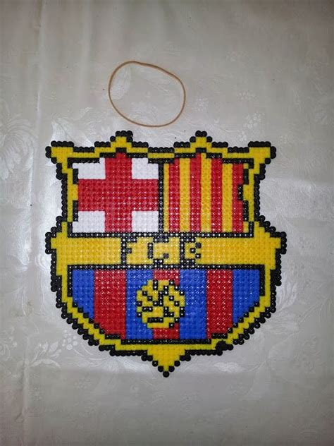 perler football crafting football and barcelona football on