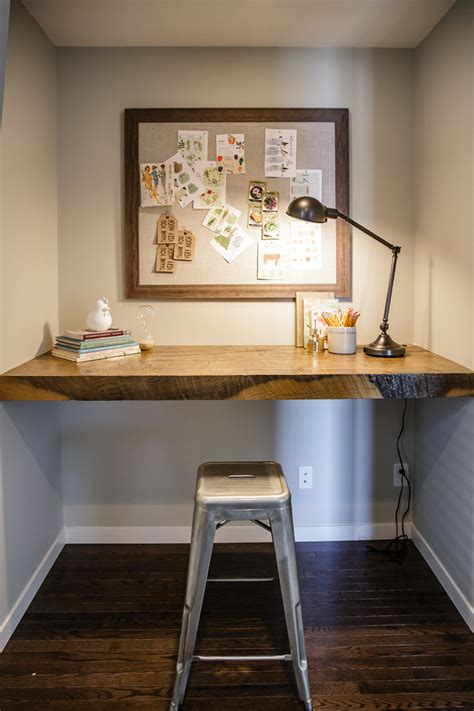 modern built in desk reclaimed wood desk home office contemporary with built in