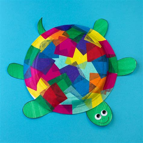 craft made by paper tissue paper and paper plate turtle craft