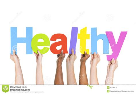 Diverse Hands Holding The Word Healthy Stock Photo   Image