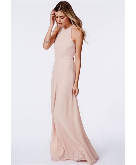 nude dresses lyst missguided strappy open back maxi dress nude in pink
