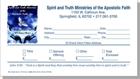 tithe and giving envelope samples
