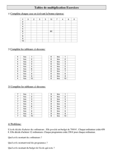 tables de multiplication cm1 exercices calculs cycle 3 pass education