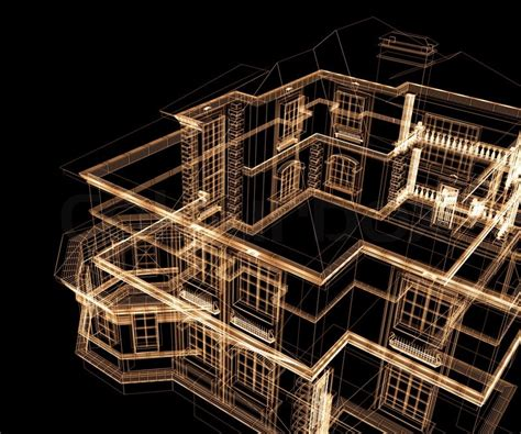 Free A Frame House Plans 3d modern architecture on a black background stock photo