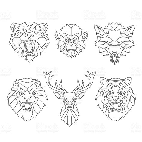 line art animals heads stock vector art 533057962 istock
