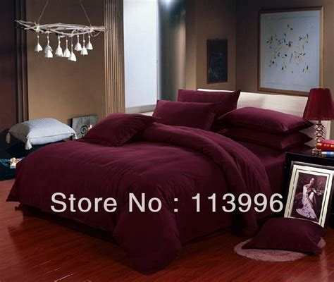 wine solid color thick brushed cotton bedding set
