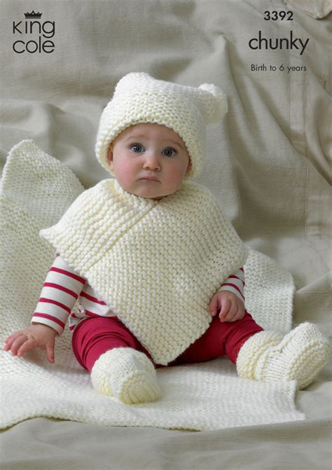 knit child poncho patterns free baby hat poncho bootee blanket knitting pattern 3392