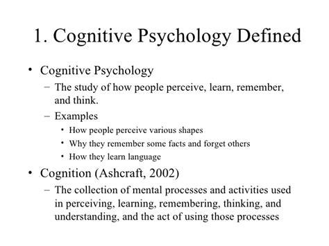 cognitive psychology ib psychology cognitive