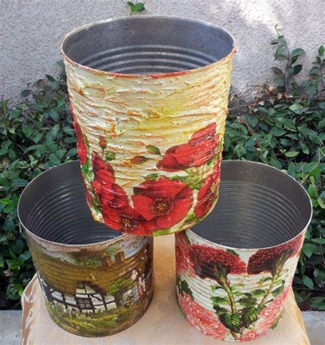can you decoupage on metal recycled decoupage tin can set of 3