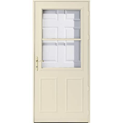 pella retractable screen door shop pella olympia poplar white high view safety