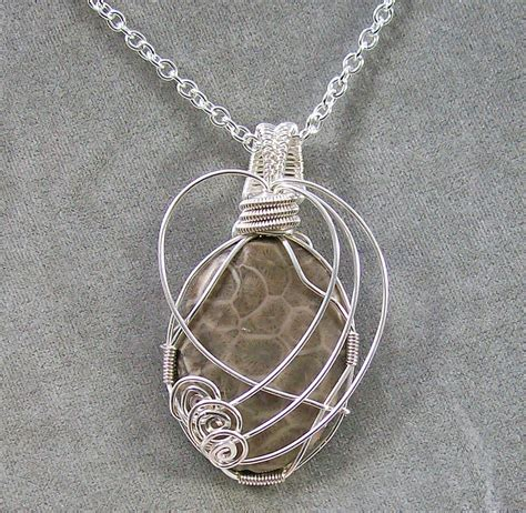 silver wire jewelry fossil coral and silver wire pendant jewelry by