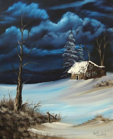 bob ross guest painter snowbound cabin 254 by barbara furlong artwanted