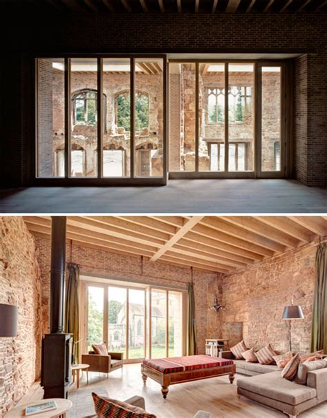 Modern Design Elements contemporary house inserted into crumbling castle ruins