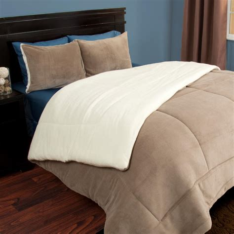 sherpa comforter set lavish home taupe sherpa fleece 3
