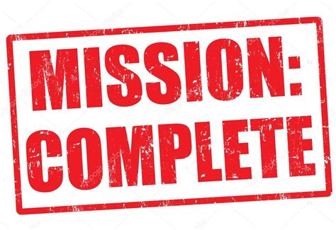 completed rubber st mission complete st stock vector 28565747