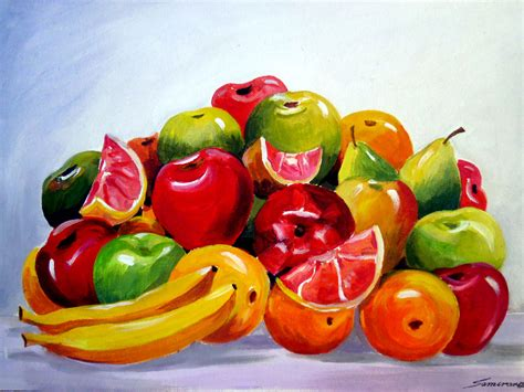 acrylic painting fruit colourful fruit composition v samiran sarkar artelista