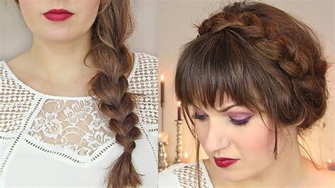 braided hairstyles for thin hair cute hairstyles for thin hair thick braid milkmaid updo