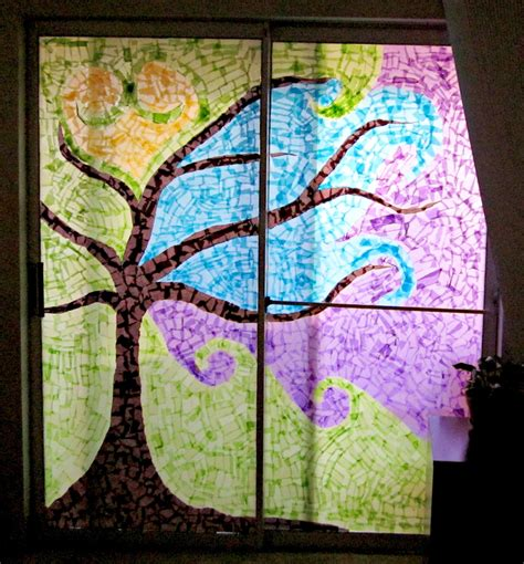 stained glass tissue paper craft stained glass pine tree patterns www pixshark