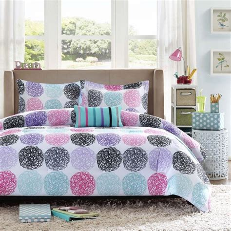 purple polka dot comforter sets reversible pink blue teal purple grey black stripe polka