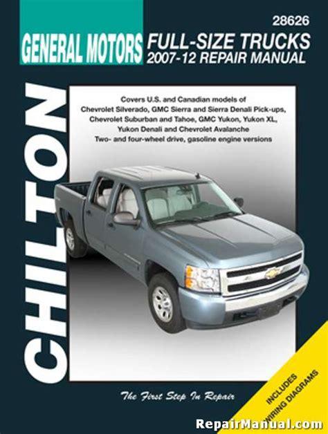 free online auto service manuals 2009 gmc yukon head up display chilton 2007 2012 chevrolet silverado gmc sierra repair manual