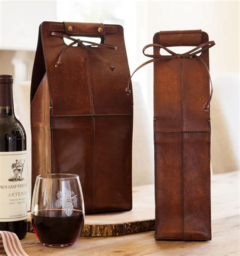 wine carrying leather leather wine bottle carrier so that s cool