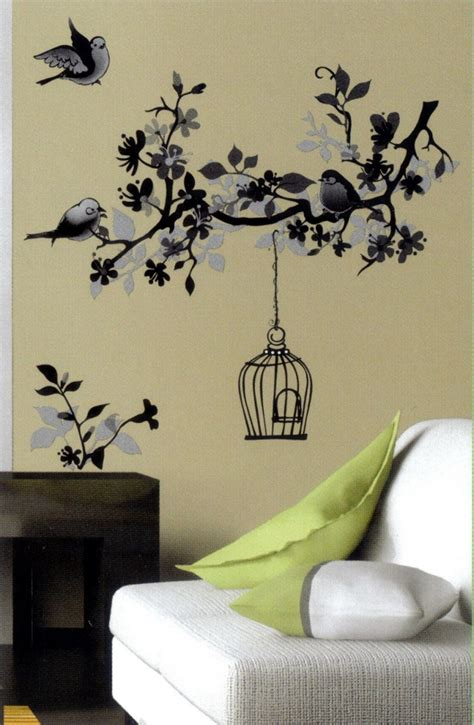 wall transfer stickers monochrome bird cage black white wall sticker vinyl