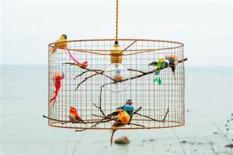 bird lights copper birdcage pendant light chandelier id lights