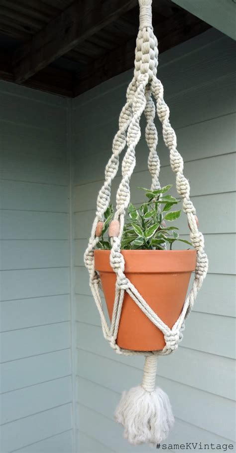 vintage macrame plant hanger 1960s wooden beads by