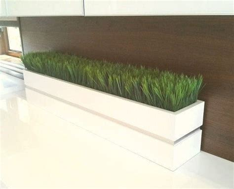modern white planter modern white lacquer planter box with grass by