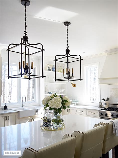 kitchen island chandelier lighting citrineliving in swing home tour 2017