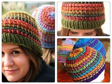 knit or crochet metamorphosis tunisian crochet hat