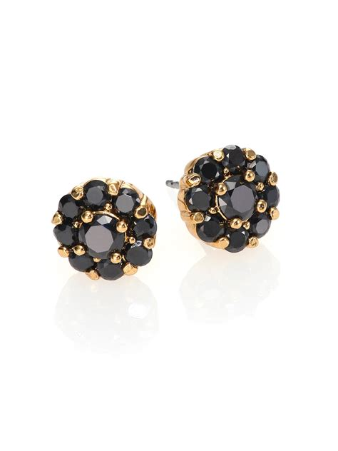 gold black earrings kate spade new york rise shine flower stud earrings