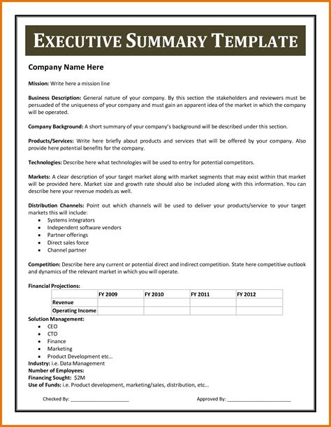 executive summary word template best template amp design