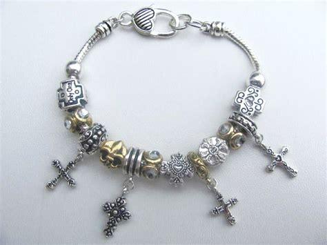 Pandora Inspired Cross Fleur De Lis Charm Bead Bracelet