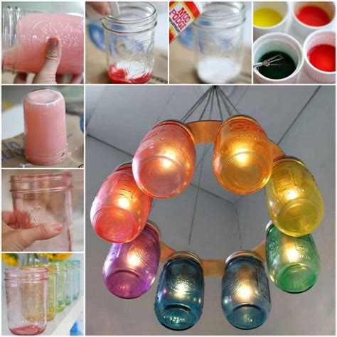 how to make jar chandelier how to make a rainbow jar chandelier pictures