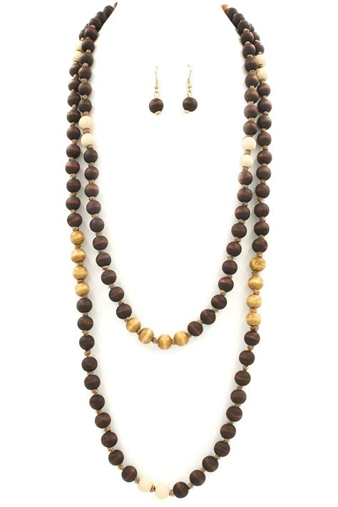 wooden bead necklace wood bead necklace set necklaces