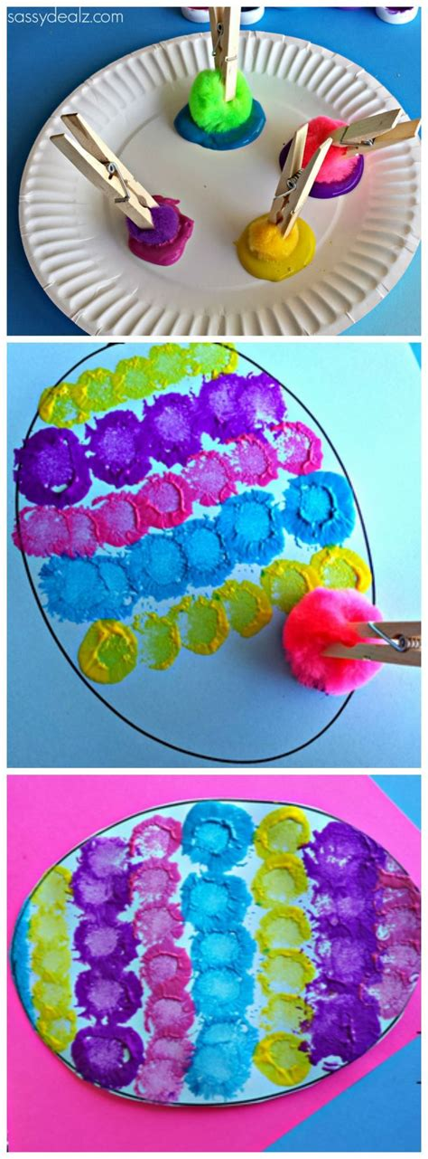 easter arts and crafts for pom pom easter egg painting craft for for