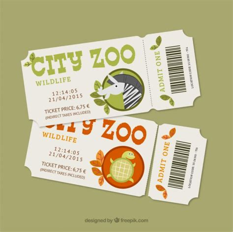 cute zoo tickets with a zebra and a turtle vector free