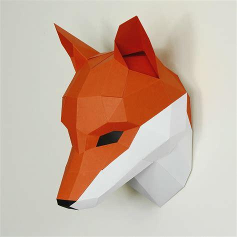 origami fox mask fox trophy mask wintercroft