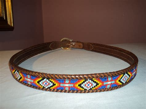 mens beaded belts l l bean indian beaded bead leather belt 38 mens by toycrazyme