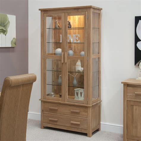 kitchen wall display cabinets eton solid oak living room furniture glazed display