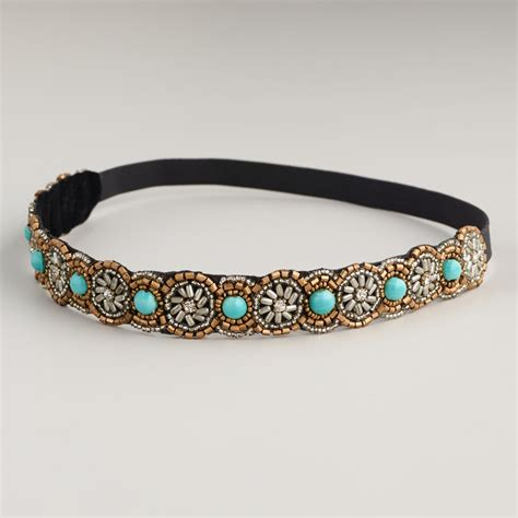 beaded headband turquoise beaded headband world market
