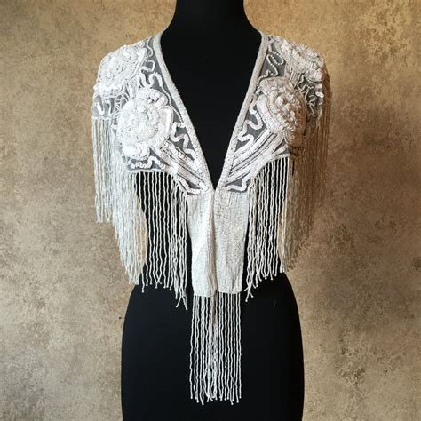 beaded shawl white sequin and beaded fringe shawl bridal wrap shoulder