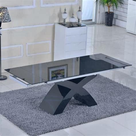 table en verre noir 224 rallonges extensible elix achat vente table salle a manger pas cher
